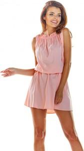 Sukienka Awama mini bez rękawów z okrągłym dekoltem