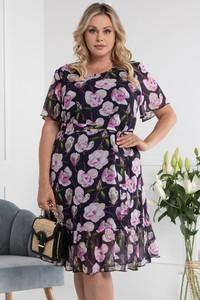 Sukienka KARKO z krótkim rękawem mini z okrągłym dekoltem