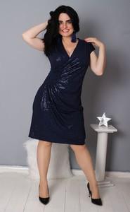 Granatowa sukienka Oscar Fashion z dekoltem w kształcie litery v