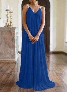 Niebieska sukienka Cikelly maxi z dekoltem na plecach na ramiączkach