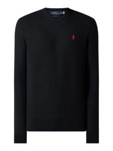 Granatowy sweter POLO RALPH LAUREN w stylu casual z okrągłym dekoltem z bawełny