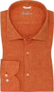 Pomarańczowa koszula Stenströms z klasycznym kołnierzykiem z lnu
