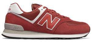 Czerwone buty sportowe New Balance 574 w sportowym stylu sznurowane