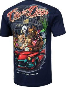Fioletowy t-shirt Pit Bull z krótkim rękawem z bawełny w młodzieżowym stylu