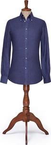 Granatowa koszula LANCERTO z kołnierzykiem button down z długim rękawem z tkaniny