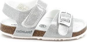 Srebrne buty dziecięce letnie Grünland dla dziewczynek ze skóry