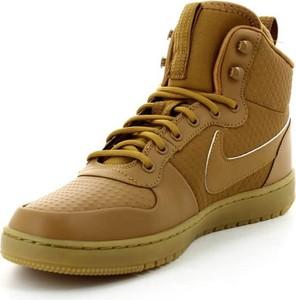 Brązowe buty sportowe Nike sznurowane ze skóry