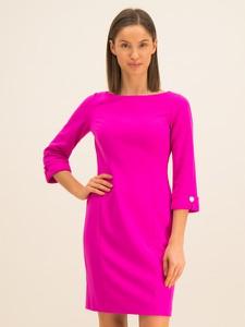 Różowa sukienka DKNY z długim rękawem mini
