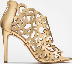 Złote botki Kazar ze skóry na szpilce na zamek