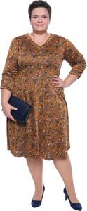 Sukienka modneduzerozmiary.pl z dzianiny z dekoltem w kształcie litery v