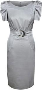 Srebrna sukienka Fokus midi z tkaniny z okrągłym dekoltem