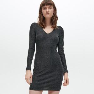 Srebrna sukienka Reserved z długim rękawem mini