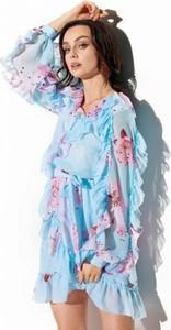 Niebieska sukienka Lemoniade mini z długim rękawem z szyfonu