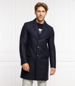 Granatowy płaszcz męski Hugo Boss z wełny