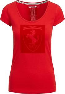 Różowy t-shirt Scuderia Ferrari F1 Team z bawełny