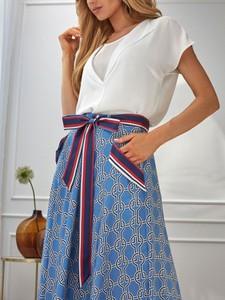 Niebieska spódnica POTIS & VERSO w stylu boho z szyfonu midi