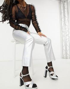 Srebrne jeansy Topshop w stylu casual
