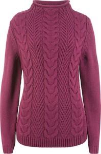 Fioletowy sweter bonprix bpc bonprix collection w stylu casual