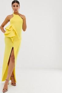 Żółta sukienka Asos Design z dekoltem halter