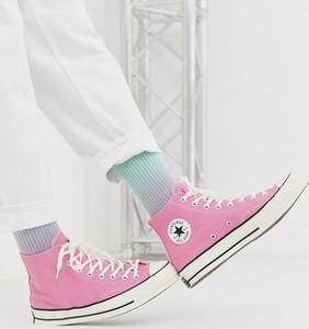 Różowe buty sportowe Converse z tkaniny sznurowane