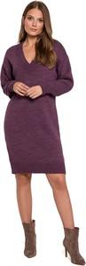 Fioletowa sukienka Makover z długim rękawem