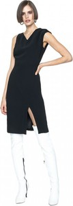 Czarna sukienka ANETA KRĘGLICKA X L'AF ołówkowa z długim rękawem z dekoltem w kształcie litery v