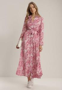 Różowa sukienka Renee z długim rękawem maxi z dekoltem w kształcie litery v