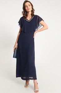 Granatowa sukienka QUIOSQUE z dekoltem w kształcie litery v maxi