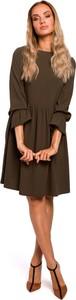 Sukienka MOE z tkaniny z okrągłym dekoltem z długim rękawem