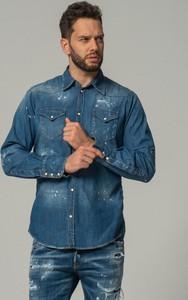 Koszula outfit.pl z klasycznym kołnierzykiem z jeansu z długim rękawem
