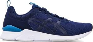 Granatowe buty sportowe ASICS ze skóry ekologicznej w street stylu