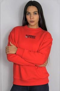 Czerwona bluza Tommy Hilfiger z bawełny