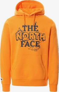Pomarańczowa bluza The North Face z bawełny w sportowym stylu