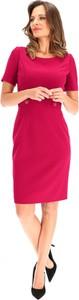 Czerwona sukienka L'AF ołówkowa z krótkim rękawem z tkaniny