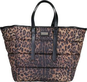 Brązowa torebka Dolce & Gabbana z nadrukiem w wakacyjnym stylu na ramię