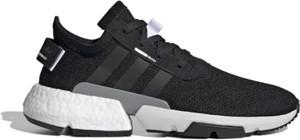Granatowe buty sportowe Adidas ze skóry sznurowane