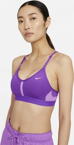 Fioletowy biustonosz Nike z nadrukiem