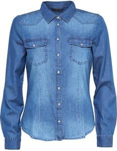 Niebieska koszula only w stylu casual z długim rękawem