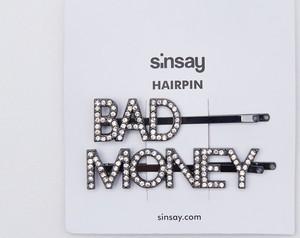 Sinsay - Spinki do włosów z napisem - Czarny