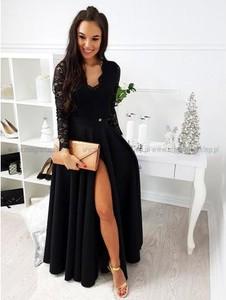 Granatowa sukienka Magneticsklep rozkloszowana z długim rękawem