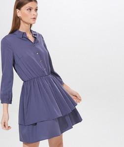 Niebieska sukienka Mohito w stylu casual z kołnierzykiem