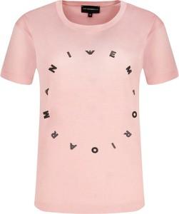 Różowy t-shirt Emporio Armani z okrągłym dekoltem z nadrukiem w stylu casual