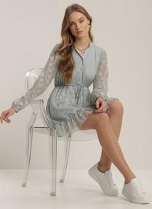 Miętowa sukienka Renee mini z długim rękawem