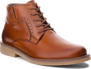 Brązowe buty zimowe Lasocki For Men ze skóry