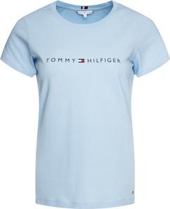 Niebieski t-shirt Tommy Hilfiger z okrągłym dekoltem w stylu casual