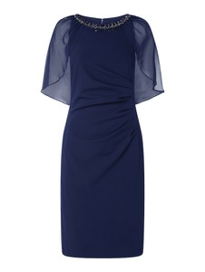 Granatowa sukienka Adrianna Papell z szyfonu