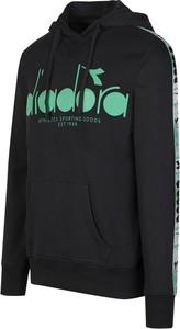 Czarna bluza Diadora z nadrukiem z bawełny