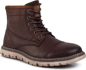 Brązowe buty zimowe Lee Cooper sznurowane
