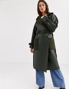 Zielony płaszcz Topshop ze skóry