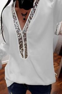 Bluzka Ivet.pl z dekoltem w kształcie litery v z długim rękawem